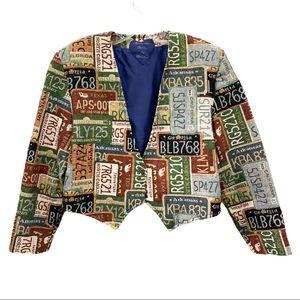 Vintage 80's 90's Novelty Tapestry Blazer Jacket S